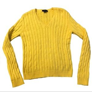 CHAPS yellow cable knit sweater
